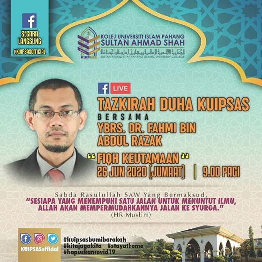 KUIPSAS Tazkirah Duha Ybrs Dr Fahmi