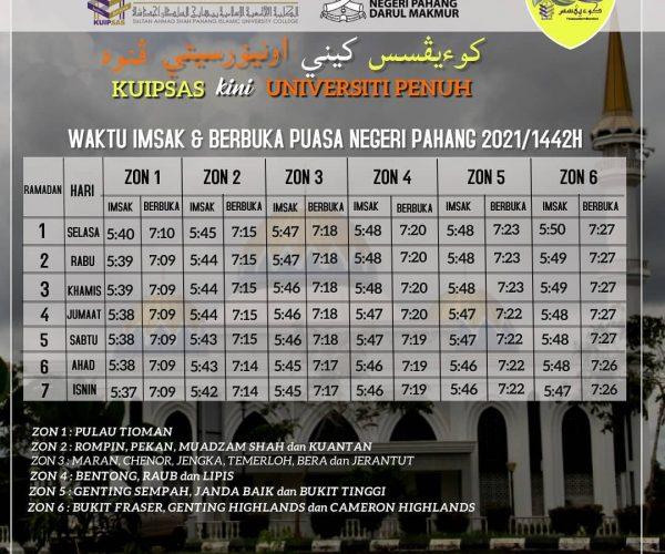 KUIPSAS Waktu Imsak & Berbuka Puasa Negeri Pahang 2021